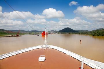 Cruise ship transits Gatun lake in the Panama canal.