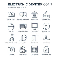 16 linear Electronic devices icons such as Digital clock, Desktop computer, Camcorder, Camera, ceiling fan modern with thin stroke, vector illustration, eps10, trendy line icon set.