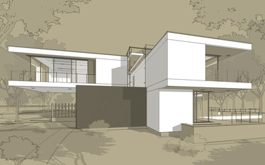 3d rendering sketch of modern cozy house with garage for sale or rent. Black line sketch with white spot and hand drawing entourage on craft background