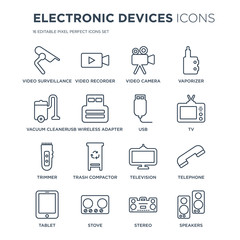 16 linear Electronic devices icons such as video surveillance, Video recorder, Stove, Tablet, Telephone, Speakers modern with thin stroke, vector illustration, eps10, trendy line icon set.