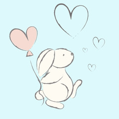 Cute rabbit with heart. Vector illustration.