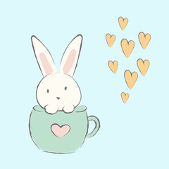 Cute hand drawn bunnies in a cup. Vector illustration