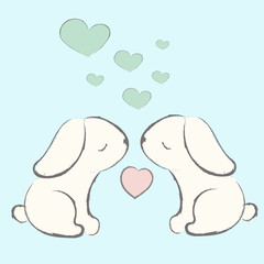 Cute hand drawn bunnies with the heart. Vector illustration
