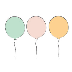 Set of hand drawn balloons. Vector illustration.