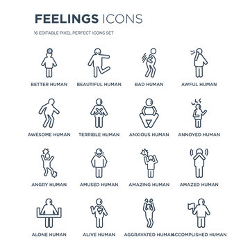 16 linear Feelings icons such as better human, beautiful alive alone amazed human modern with thin stroke, vector illustration, eps10, trendy line icon set.