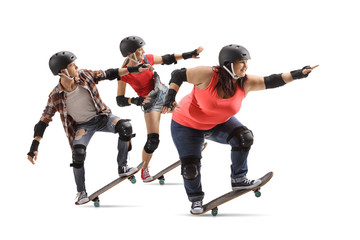 Group of young people riding skateboards