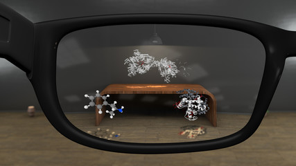 Watching Molecule Models with AR Glasses Concept