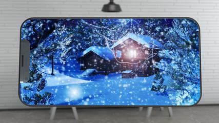 Watching a Snowy Christmas Scene on Phone Display