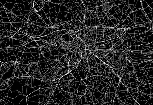 Dark area map of London, United Kingdom