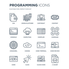 16 linear Programming icons such as Css, Cross-platform, Click, Code, Code review, C sharp, Console, Cogwheel, Compiler modern with thin stroke, vector illustration, eps10, trendy line icon set.