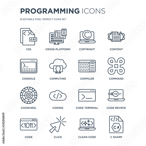 16 linear Programming icons such as Css, Cross-platform, Click, Code