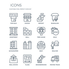 16 linear  icons such as For sale, Duplex, Plans, Real estate, Realtor, Moving truck, Apartment modern with thin stroke, vector illustration, eps10, trendy line icon set.