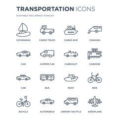 16 linear Transportation icons such as catamaran, Cargo truck, Automobile, Bicycle, Bike, Aeroplane, Car modern with thin stroke, vector illustration, eps10, trendy line icon set.
