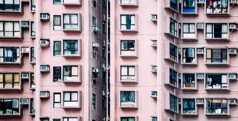 China, Hong Kong, Hong Kong Island, facades of apartment tower, partial view