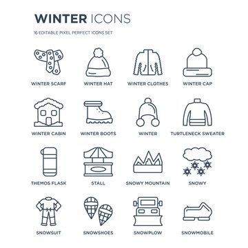 16 linear Winter icons such as winter Scarf, hat, Snowshoes, Snowsuit, Snowy, Snowmobile, Cabin modern with thin stroke, vector illustration, eps10, trendy line icon set.