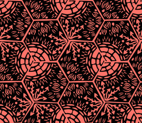 Underwater world. Hexagonal tiles. Seamless pattern. Black and coral colors.