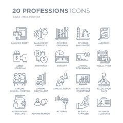 Collection of 20 Professions linear icons such as Balance sheet, payments, Actuary, Administration line icons with thin line stroke, vector illustration of trendy icon set.