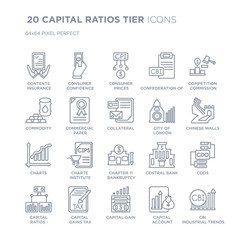 Collection of 20 CAPITAL RATIOS  TIER linear icons such as Contents insurance, Consumer confidence, Capital gain, gains tax line icons with thin line stroke, vector illustration of trendy icon set.