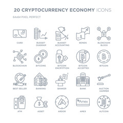 Collection of 20 CRYPTOCURRENCY ECONOMY linear icons such as Card, budget diagram, Ardor, asset, Atm, blokchain block line icons with thin line stroke, vector illustration of trendy icon set.