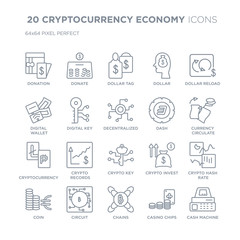 Collection of 20 CRYPTOCURRENCY ECONOMY linear icons such as Donation, Donate, Chains, Circuit, Coin, dollar reload, Dash line icons with thin line stroke, vector illustration of trendy icon set.