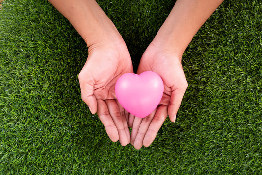 Hand holding red hearts on Green grass background ,valentine love concept