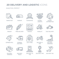 Collection of 20 DELIVERY AND LOGISTIC linear icons such as Inspection, Hangar, delivery to the door, Delivery truck line icons with thin line stroke, vector illustration of trendy icon set.
