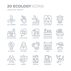Collection of 20 Ecology linear icons such as eco Turbine, Plug, Biofuel, Biogas, Biohazard, Eco light, Factory,  line icons with thin line stroke, vector illustration of trendy icon set.