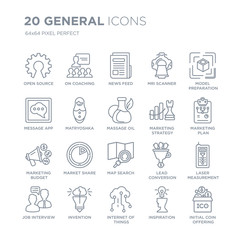 Collection of 20 General linear icons such as open source, on coaching, internet things, invention, job interview line icons with thin line stroke, vector illustration of trendy icon set.