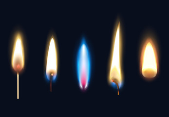 Realistic Burning Flames Set