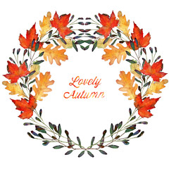 autumn leaves, watercolor, handmade, maple and oak leaves, wreath, card for you
