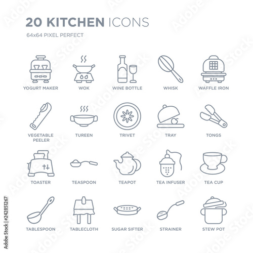 Collection of 20 Kitchen linear icons such as yogurt maker