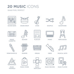 Collection of 20 Music linear icons such as Sound bars, Snare drum, music Spotlight, store, Triangle, Saxophone line icons with thin line stroke, vector illustration of trendy icon set.