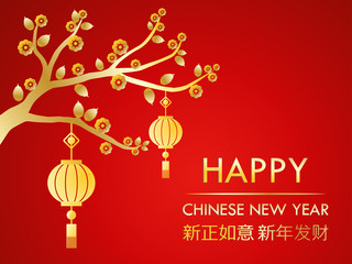 Happy Chinese New Year greeting card on red background
