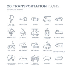 Collection of 20 Transportation linear icons such as Hot air balloon, Helicopter, Double decker bus, dugout canoe line icons with thin line stroke, vector illustration of trendy icon set.