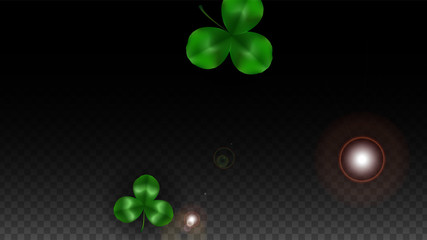 Vector Clover Leaf  Isolated on Transparent Background with Space for Text. St. Patrick's Day Illustration. Ireland's Lucky Shamrock Poster. Invintation for Concert in Pub. Top View. Success Symbols.