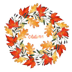 autumn leaves, watercolor, card for you, handmade, wreath, maple and oak leaves
