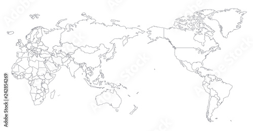World Map Outline Contour Silhouette - Asia in Center\