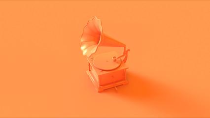 Orange Vintage Gramophone 3d illustration 3d render