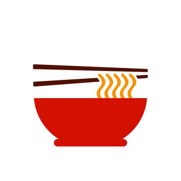 Chinese noodles icon, Vietnamese pho vector illustration