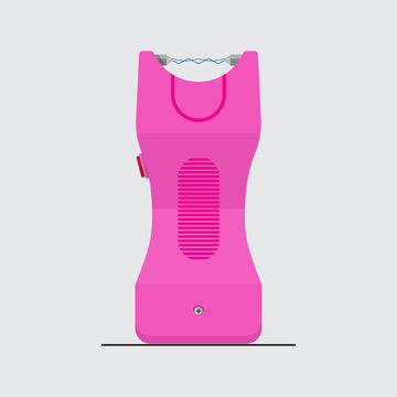 Pink stun gun icon vector flat design.