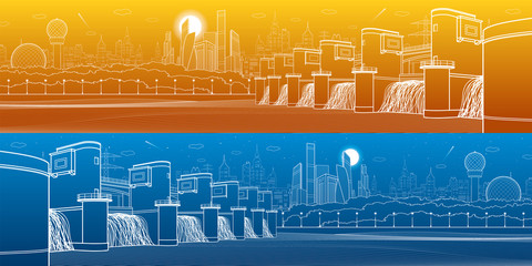 Hydro power plant. River Dam. Energy station. Water power. City infrastructure industrial illustration panoramic. White lines on blue and orange background. Vector design art