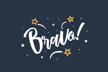 Bravo lettering card, banner. Beautiful greeting scratched calligraphy white text word stars. Hand drawn invitation print design. Handwritten modern brush blue background isolated vector.