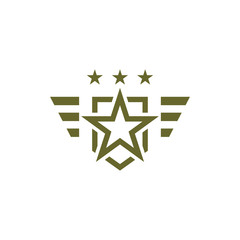 Military icon on white background. Armed symbol. Soldier emblem with star. Army logo. Vector illustration