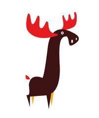 Moose animal flat vector illustration on white