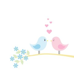 couple of cute birds in love vector illustration