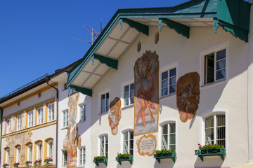 Traditional house in Bad Toelz, Old Town, Bavaria, Germany