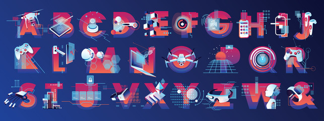 Virtual reality illustrated alphabet letters in vibrant colors