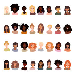 Illustration of women of different race character portraits. Hand drawn set isolated hand drawn in mimimal style.