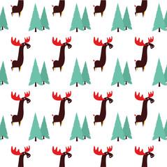 Moose animal flat vector pattern on white