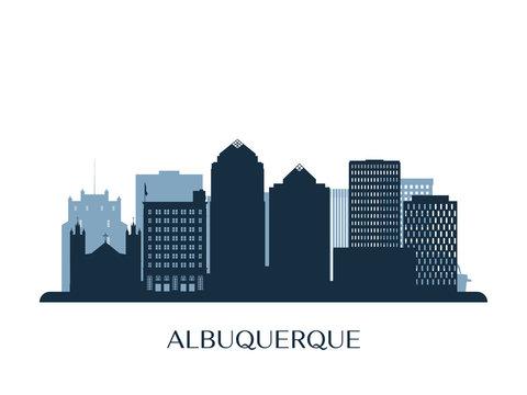 Albuquerque skyline, monochrome silhouette. Vector illustration.
